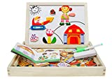 jigsaw puzzle board with drawers - BXT Children Multifunctional Wooden Magnetic Jigsaw Puzzle Box Double Sided Erasable Drawing Easel Dry Erase Board Chalkboard Educational Learning Game Toys Christmas Gift for Kids Girls Boys - Figure