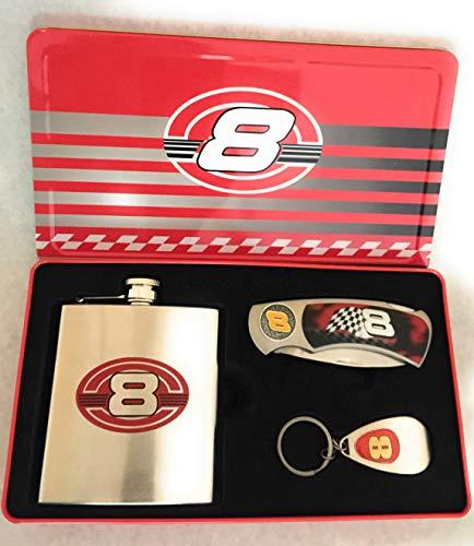 (#8 Dale Earnhardt Jr. Collectors Set Flask, Pocket Knife and Key chain Bottle Opener in Tin)