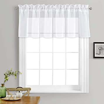 NICETOWN Kitchen Window Treatment Voile Valances - Small Window Linen Look  Sheer Curtain Tiers for Cafe Store (White, 2 Panels Per Package, 55 inches  ...