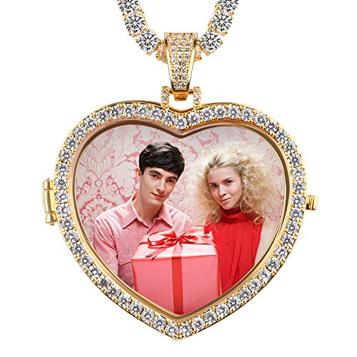 (YIMERAIRE Custom Made Photo Heart Necklace & Pendant with 4mm Tennis Chain Men's Hip hop Jewelry Personalized Your Picture (CZP0167-G-4MM Tenis Chain))