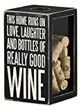 "Primitives by Kathy ""This Home Runs on .. Good Wine"" Cork & Cap Holder, Black, Large"