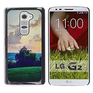 For LG G2 / D800 / D802 / D802TA / D803 / VS980 / LS980 Case , Green Hills Sky View Pink - Diseño Patrón Teléfono Caso Cubierta Case Bumper Duro Protección Case Cover Funda