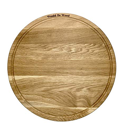 Round Wood Cutting Board, Oak Wood Cheese Serving Tray and Charcuterie Platter with Juice Drip Groove 11.81 Inch ()