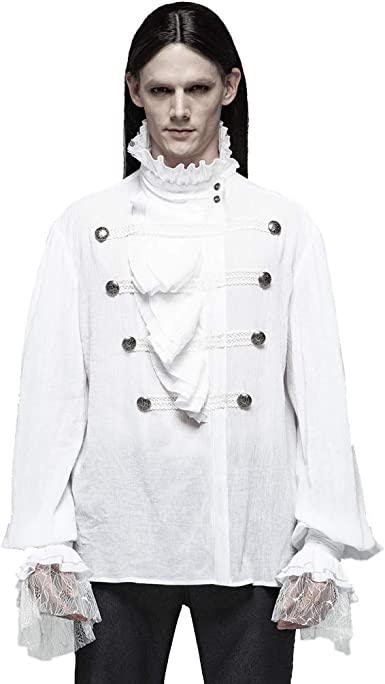 Punk Rave Camisa gótica steampunk con volantes para hombre ...