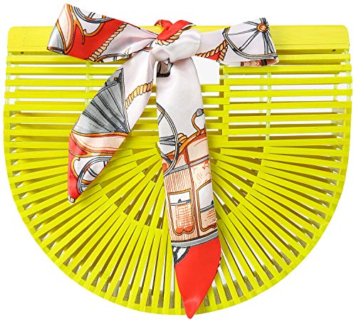 Obosoyo Women's Handmade Bamboo Handbag Summer Beach Sea Tote Bag (Yellow-Small)