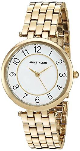 Anne Klein Women's AK/2700WTGB Easy To Read Dial Gold-Tone Bracelet Watch