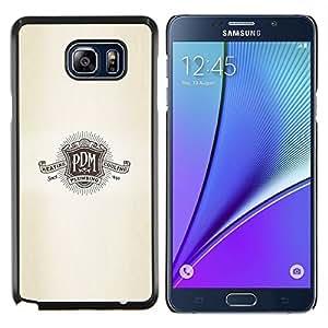 YiPhone /// Prima de resorte delgada de la cubierta del caso de Shell Armor - P D M logo lema escudo retro de plomería - Samsung Galaxy Note 5 5th N9200