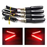 TASWK 4Pcs Motorcycle LED Turn Signal Lights Blinkers Indicator Lights. (Red)