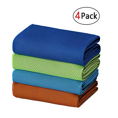 (SIMSIMY Cooling Towel 4 Pack Fast Drying, Ultra Lightweight Compact Ice Towel for Men Women Kids, Super Absorbent Microfiber Towels for Sports, Gym, Workout, Fitness, Running, Travel, Camping)