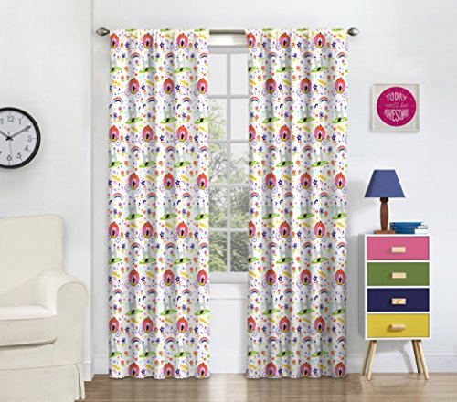 Eclipse 16459042X084MUL Pretty Princess 42-Inch by 84-Inch Single Window Curtain Panel, Multi (Pretty Blackout Curtains)