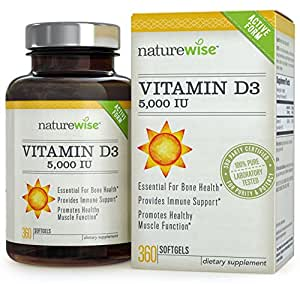 NatureWise Vitamin D3 5,000 IU for Healthy Muscle Function, Bone Health and Immune Support, Gluten Free & Non-GMO in Cold-Pressed Organic Olive Oil,1-year supply, 360 count