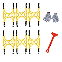Rupse 8-Piece Snow Tire Anti-slip Chains for Vehicles - Light yellow