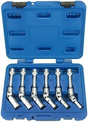 6 Llaves Articuladas de Vaso para BUJIAS Calentadores Coche (para Gasolina y Diesel/gasoil) - EXTRACTORES 3/8