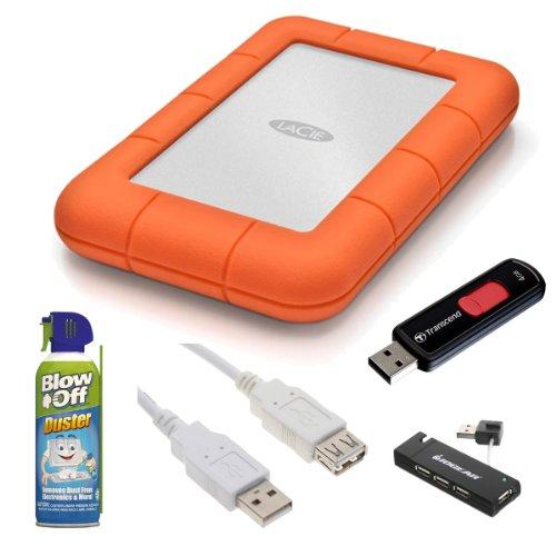 LaCie 9000298 Rugged Mini Disk USB 3.0 2TB EXternal Hard Drive + Transcend 4GB JetFlash 500 USB 2.0 Flash Drive + Accessory Kit ()