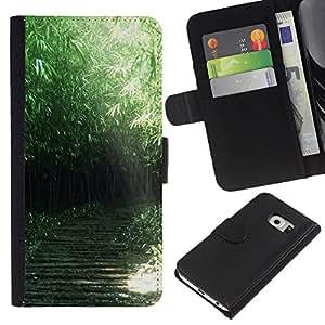 KLONGSHOP // Tirón de la caja Cartera de cuero con ranuras para tarjetas - Naturaleza Verde Forrest - Samsung Galaxy S6 EDGE //