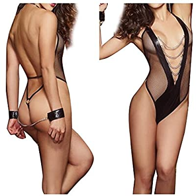 Black Babydoll Lingerie For Women For Sex Halter Fever Lace Naughty Open Mesh Leather Sets
