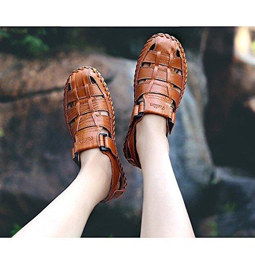 Size Sandali il da sandali Red 42 Black tempo antiscivolo sandali 2 libero per brown uomo per traspiranti all'aperto 3 in Color pelle la e regolabili coperto spiaggia adatti EU al ggd6rwq