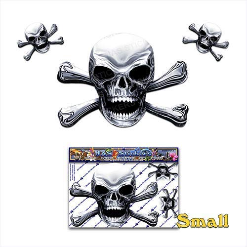 Chrome Skull N X Bones Scary Halloween Pirate Joke Vinyl Car Sticker Decal Pack For Laptop, Caravans, Trucks, Boats ST00037CH-1 - JAS Stickers