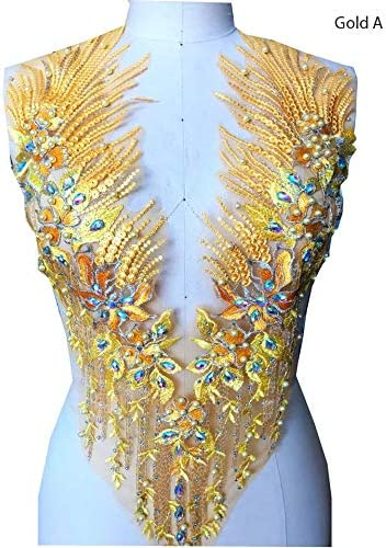 Floral Shape Appliques Beaded Stone Patches Sewing Apparel Dress By 12 Pcs
