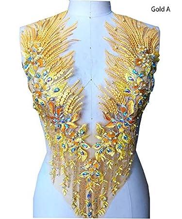 Spitzenapplikation 3D Perlen bestickt Blumen Strass Trim Patches Ideal für DIY Ausschnitt Mieder Hochzeit Braut Bälle Kleid A