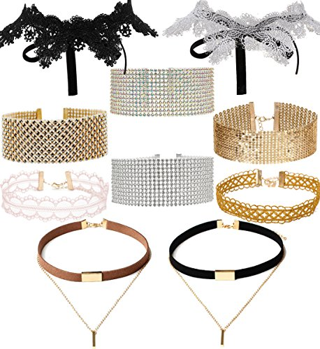 Tpocean 10pcs Gothic Gold Pink Choker Set Tattoo Lace Velvet Crystal Rhinestone Silver Choker Necklace Jewelry Set for Girls Women and Crystal Rhinestone Necklace Set Party Wedding (Gothic Lace Chokers)