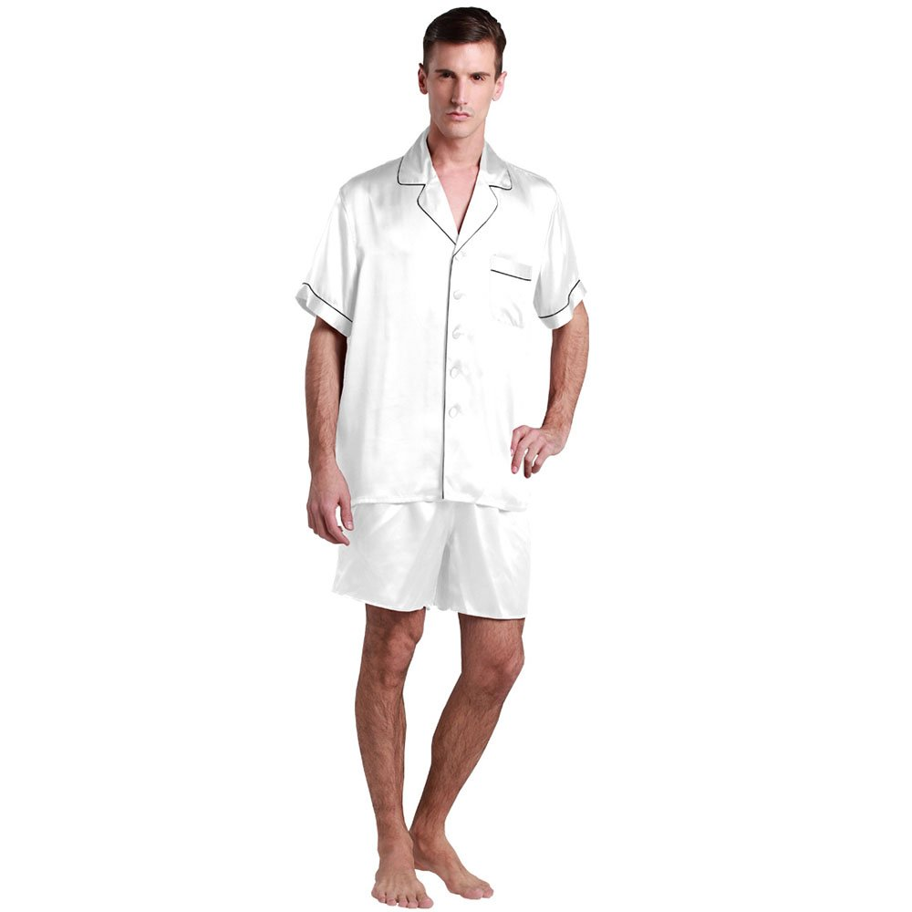 Amazon.com   Lilysilk Silk Pajamas For Men White S Best Sale Online 22mm    Everything Else b82106ef1
