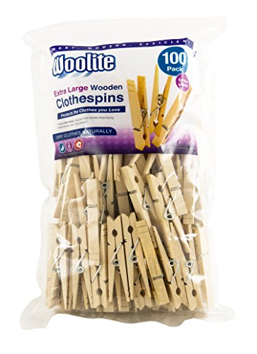 (Woolite Extra Large Wooden 100 Pack Clothespins, Natural)