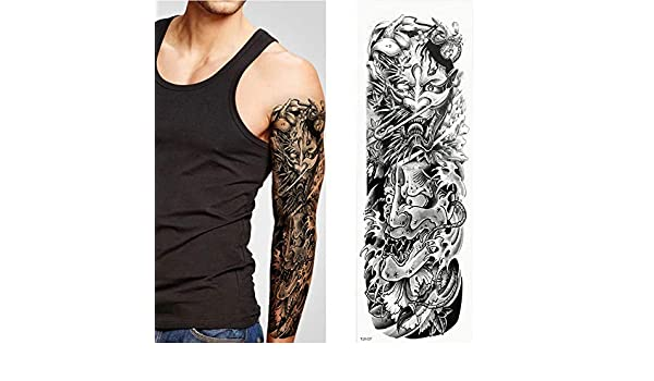 7pcs Pieza tatuaje tatuaje adhesivo de color amarillo brazo lleno ...