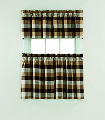 Window Accents Nottingham Plaid Woven Rod Pocket 3-Piece Tier and Valance Set 58-Inch by 36-Inch, Chocolate (Tiers Valance Polyester)