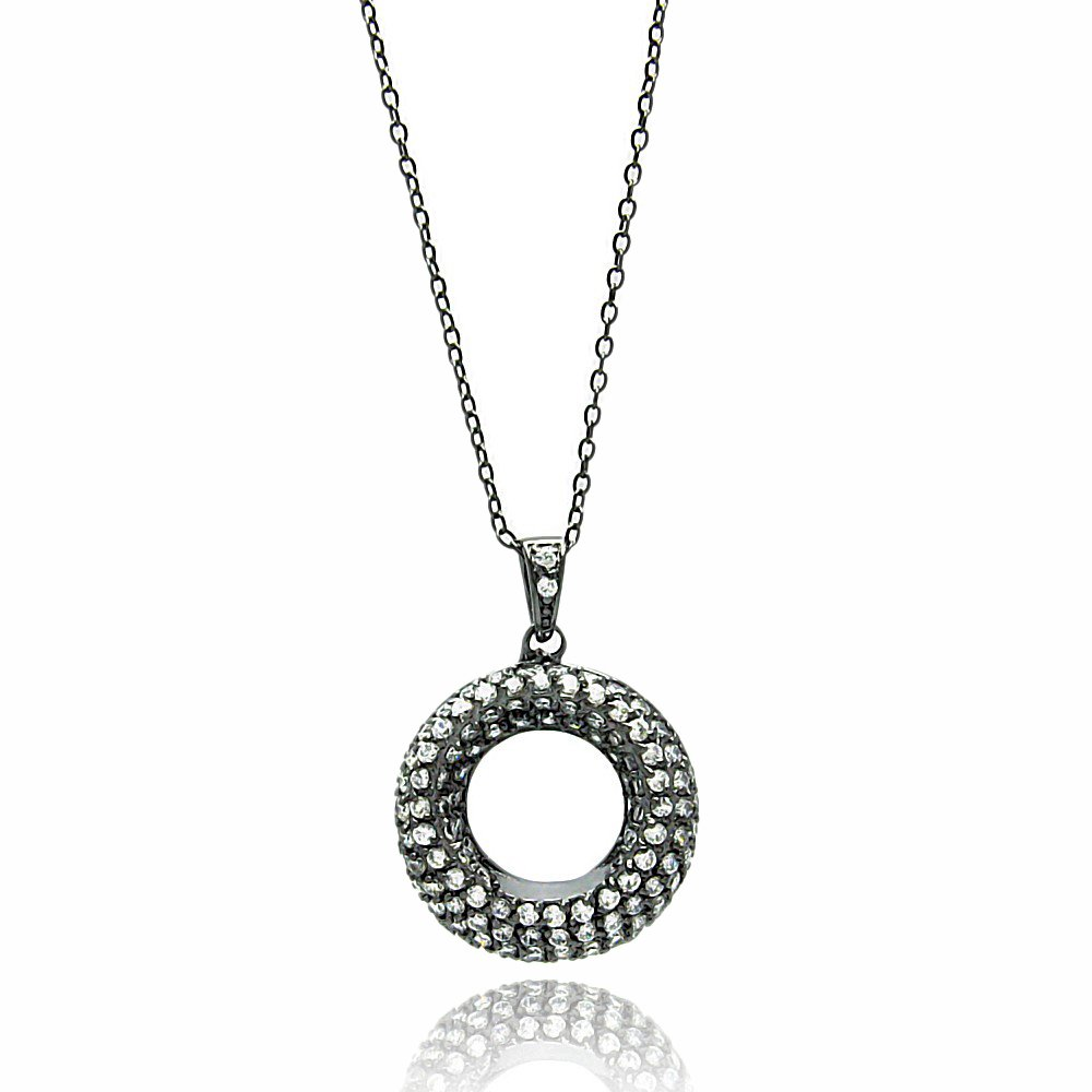 Sterling Silver CZ Black Rhodium Plated Open Circle Necklaces 16 2 Extension