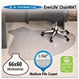 EverLife Chair Mats For Medium Pile Carpet, L-Workstation w/Lip, 66 x 60, Clear, Sold as 1 Each