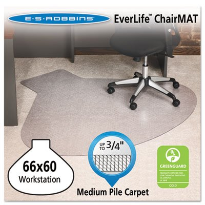 EverLife Chair Mats For Medium Pile Carpet - L-Workstation w Lip - 66 x 60 - Clear - Sold as 1 Each