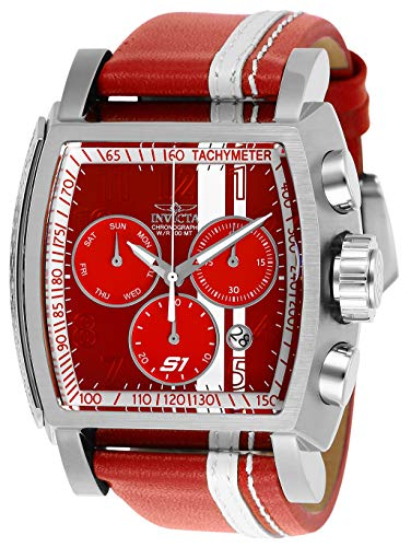 (Invicta Men's S1 Rally Stainless Steel Quartz Watch with Leather-Synthetic Strap, red, 26 (Model: 26393))