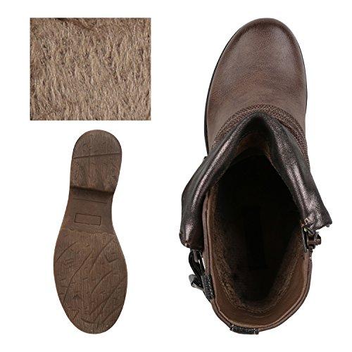 napoli-fashion - botas estilo motero Mujer caqui
