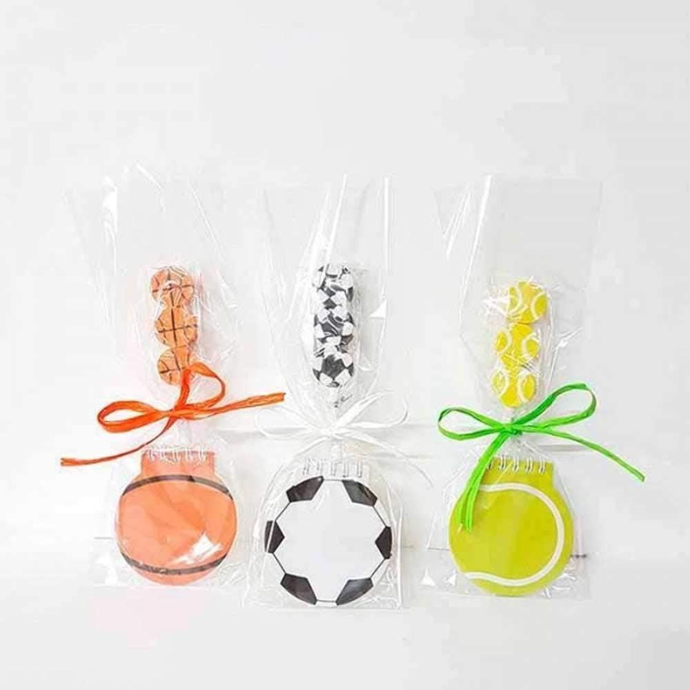 Libreta forma de balón + lápiz con 3 gomas balones, fútbol, tenis ...