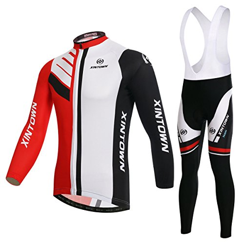 BESYL Unisex Fleece High-Performance Mesh Cycling Clothing Suitfor Winter, Long Sleeve Cycling Jersey and Bib Padded Pants Kit for Bicycle Bike Riding Biker (Red White Black)