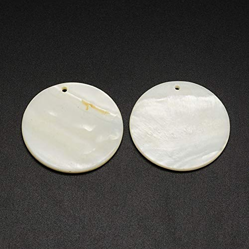 ARRICRAFT 100pcs Natural Freshwater Shell Charms Acrylic Flat Rouond Pendants for Bracelet Necklace Earring Jewelry Making, 38x3mm ()
