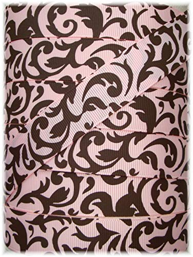 Ribbon Art Craft Perfect Solution for Any Project Decoration 1 Yard 7/8 Pink Brown Damask Scroll Designer Grosgrain Ribbon 4 HAIRBOW Bow Dog Collar