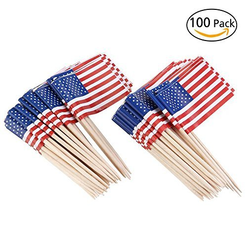 American Flag Picks Flag Toothpicks Cocktail Sticks Cupcake Toppers, 100 Count -