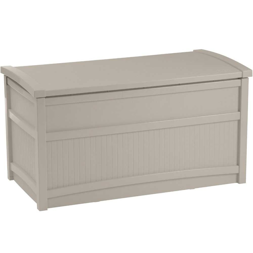 Deck Box, Resin, 41w x 21d x 22h, 50-gallon, Taupe