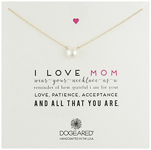Dogeared ''Mom I Love Mom Gold Large White Pearl Necklace, 20'' by Dogeared