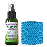 Kinven Anti Mosquito Repellent Bundle - Mosquito Wristband Repellant & Spray, Waterproof, Natural, DEET-free, Indoor & Outdoor Protection for Adults & Kids (2oz spray bottle + 8 bracelet, Light Blue)