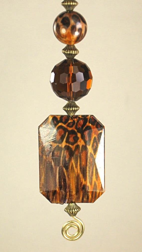 Leopard/Cheetah Animal Print Brown Glass Ceiling Fan Pull Chain - Lamp/Light Pull
