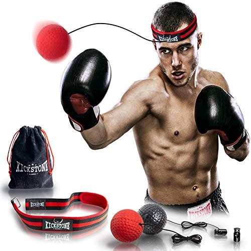 Boxing Ball - Fight Reflex Ball on String with Headband in bag, Equipment for Training Speed Reaction Focus Punch Hand Eye Coordination, Kit for Pro MMA Fighter Kids ()