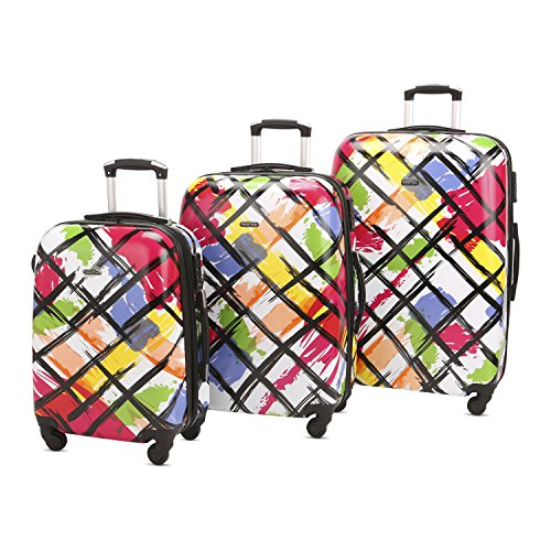 HyBrid & Company Luggage Set Durable Lightweight Hard Case Spinner Suitcase LUG3-PC18, 3 Pieces, Color Drawing