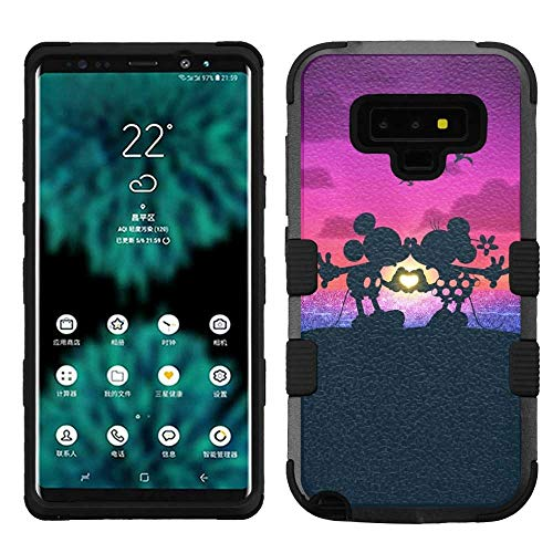 (for Samsung Galaxy Note 9, Hard+Rubber Dual Layer Hybrid Heavy-Duty Rugged Armor Cover Case - Mickey Minnie Mouse #Mr&Mrs.)
