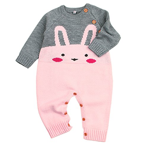 Baby Sweater Knit Cotton Rabbit Onesies Pink 6-12M