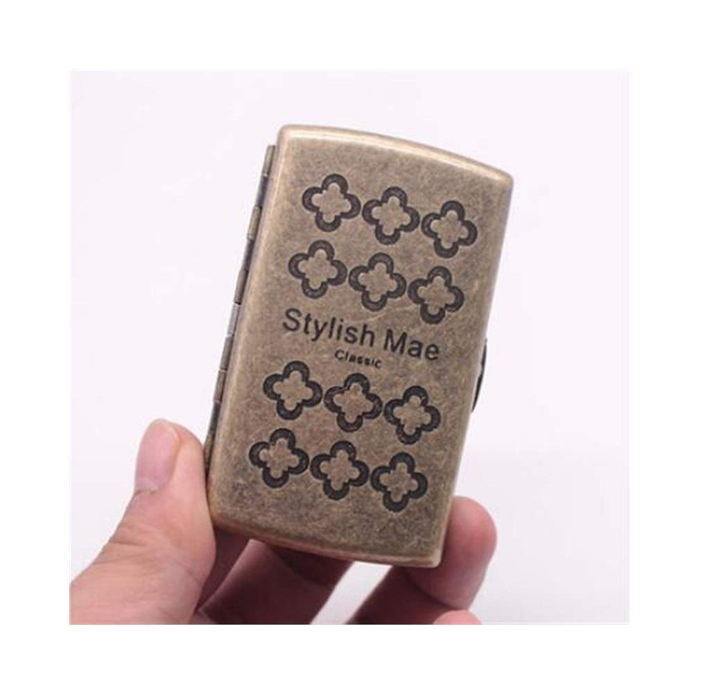 Jinfengtongxun Cigarette Case, Copper Cigarette Case/Holder - Double-Sided Flip Pocket Tobacco Storage Case - Ultra-Thin 12 Cigarettes (Color : Gold5)