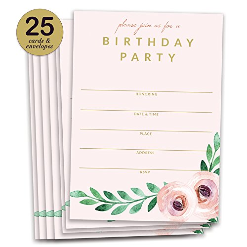 Pink Birthday Party Invitations Pretty Modern Floral Fill In Invites with Envelopes ( Pack of 25 ) Large 5x7