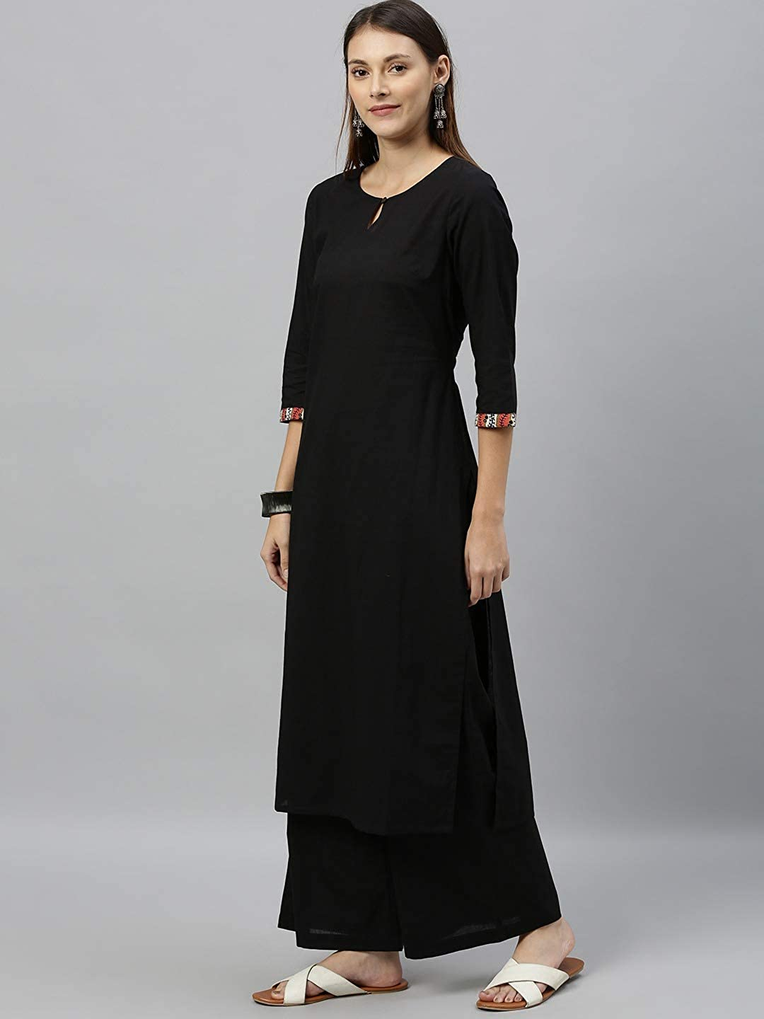 Lady Dwiza Indian Ethnic Designer Party Wear Kurta with Trousers or Palazzos & Dupatta for Women Black & Red